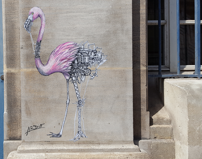 Flamand rose de l'artiste Ardif - Urban Art Fair 2017 - ©No Fake In My News