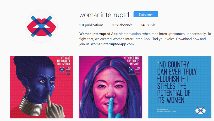 Le compte Instagram de Woman Interrupted App