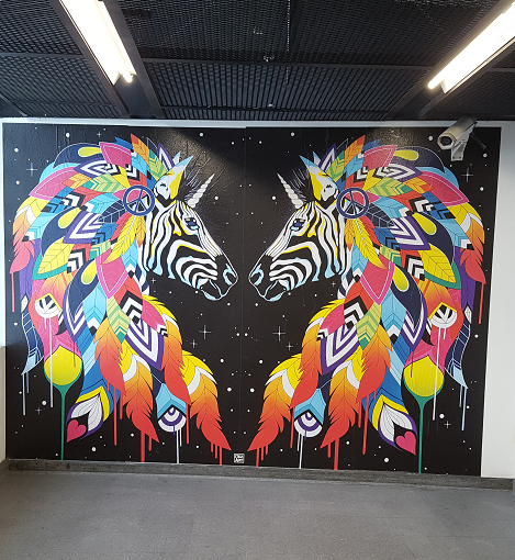 Projet Color Fusion - Mural zebra par Céz Art - ©No Fake In My News