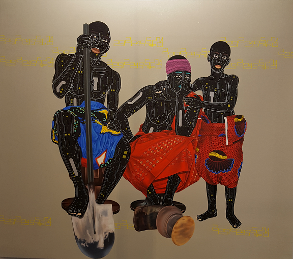 To Bung i(do not find it) de Eddy Kamuanga Llunga- acrylic and oil on canvas