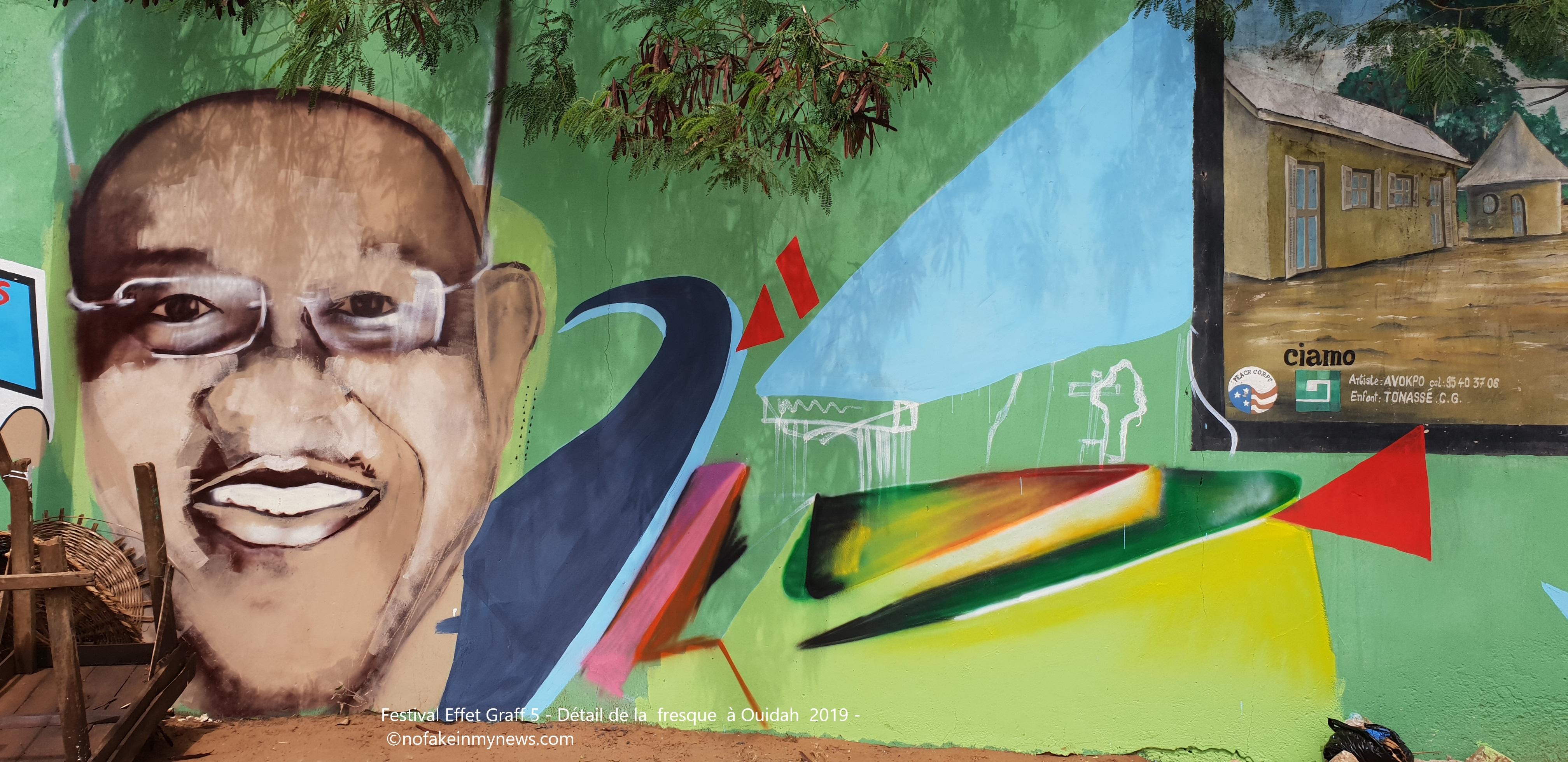 Festival Effet Graff 5 - Détail de la fresque à Ouidah 2019 --©nofakeinmynews