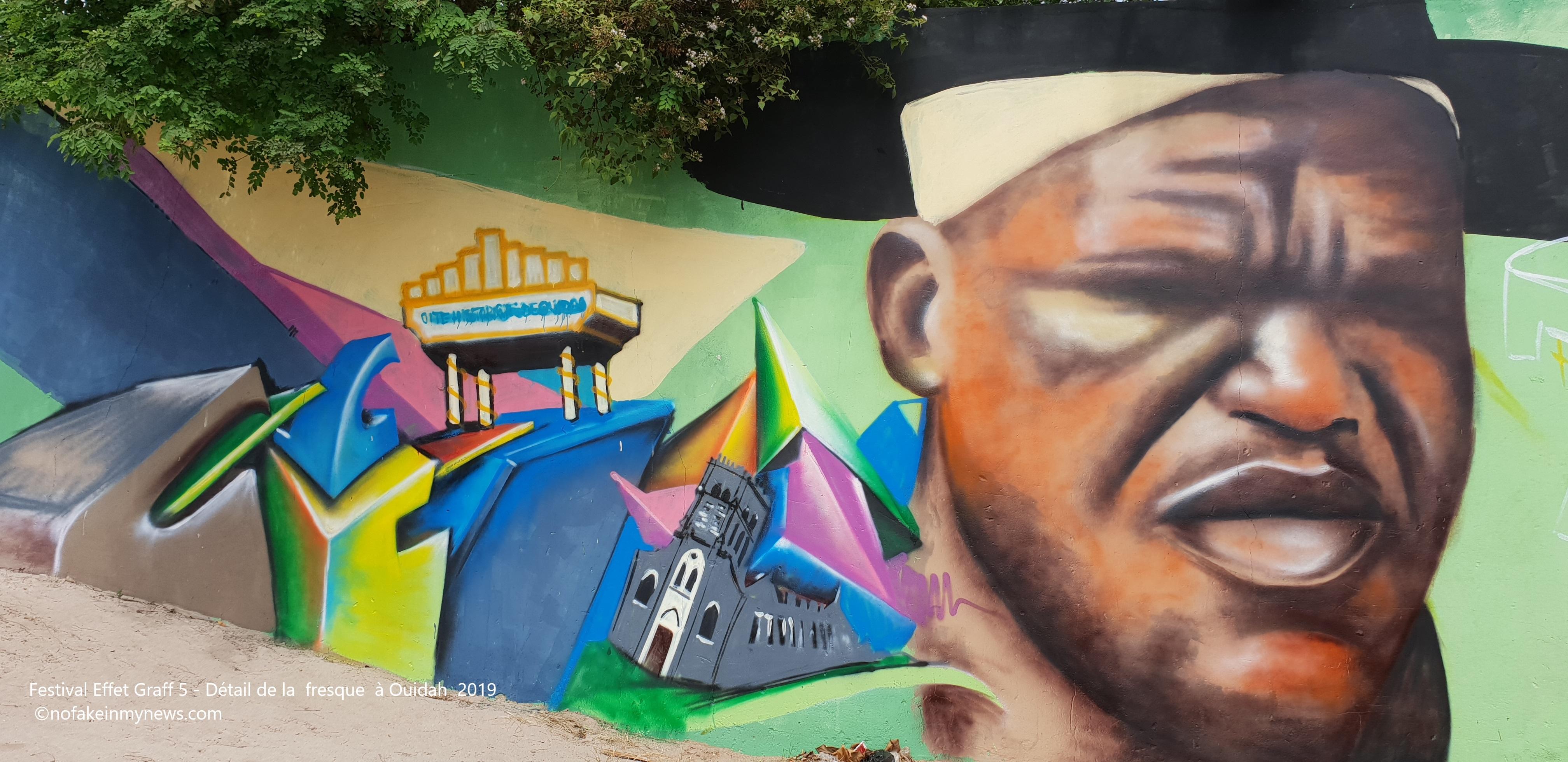 Festival Effet Graff 5 - Détail de la fresque à Ouidah 2019 - ©nofakeinmynews
