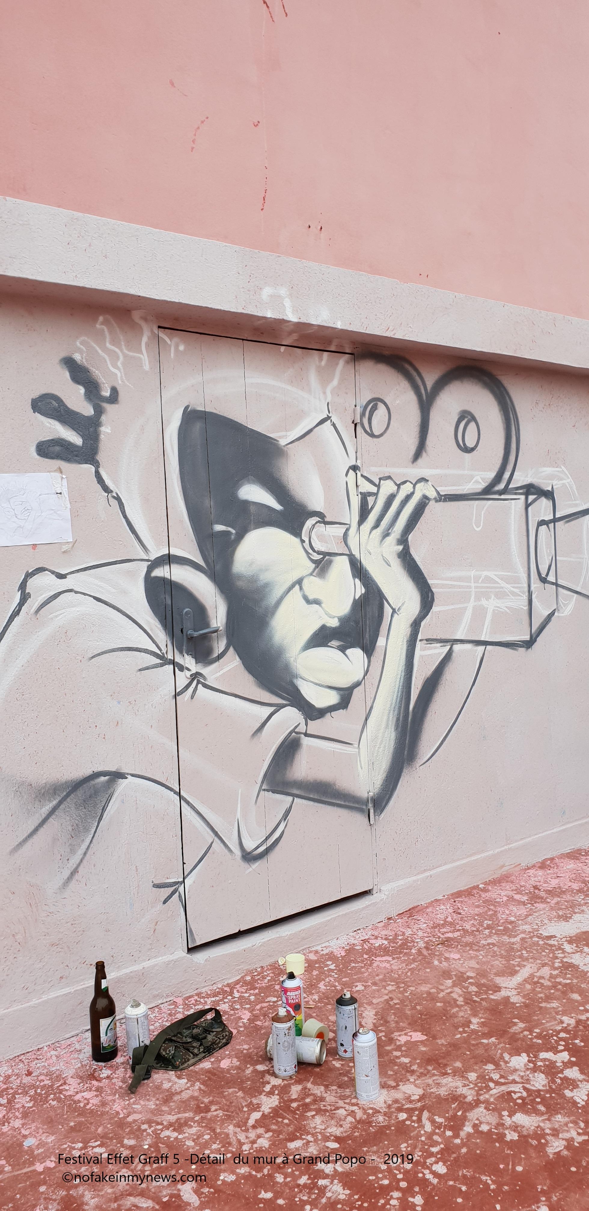Festival Effet Graff 5 -Détail du mur à Grand-Popo 2019 - ©nofakeinmynews