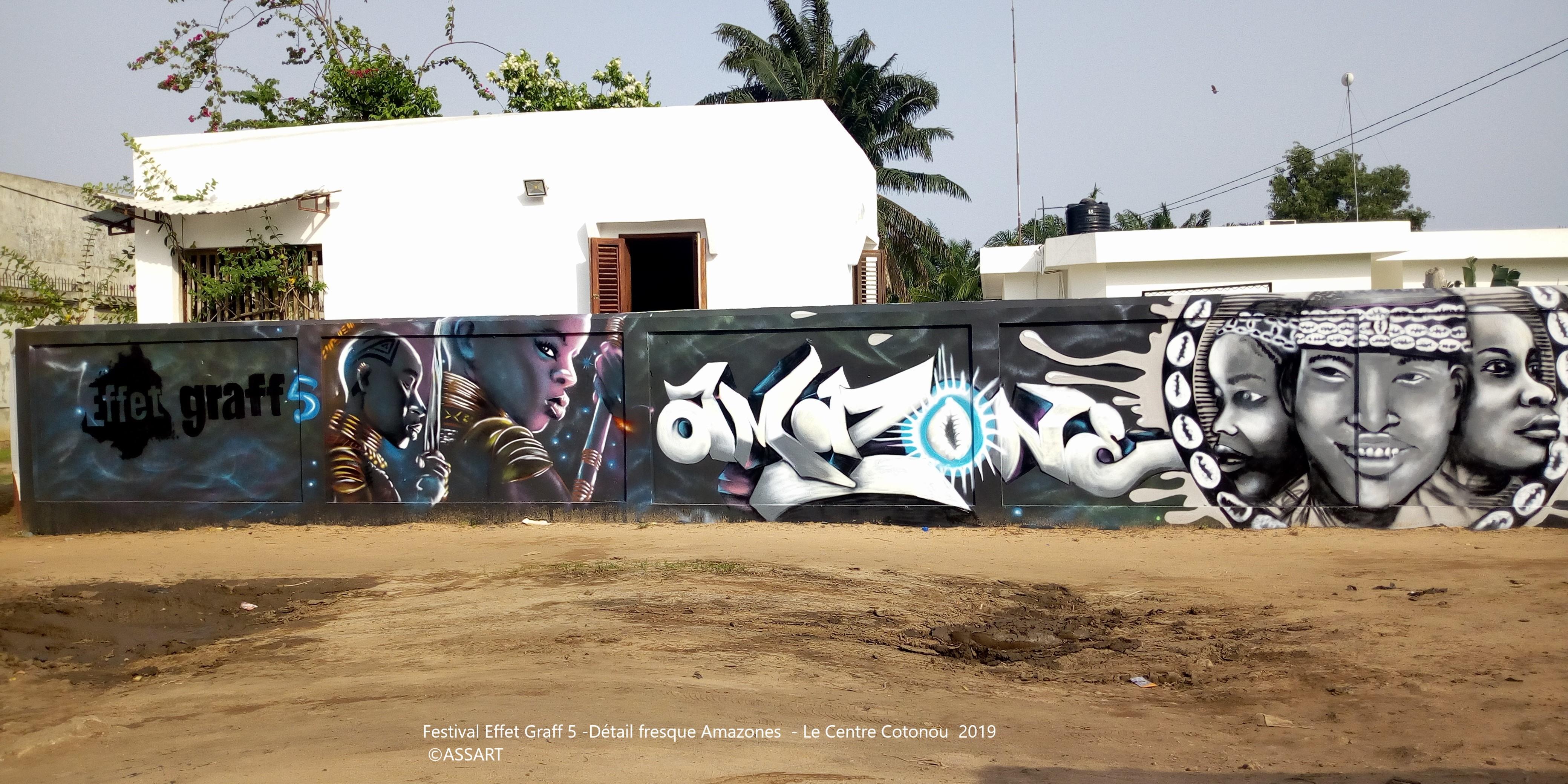 Festival Effet Graff 5 -Détail fresque Amazones - Le Centre Cotonou 2019 -©ASSART