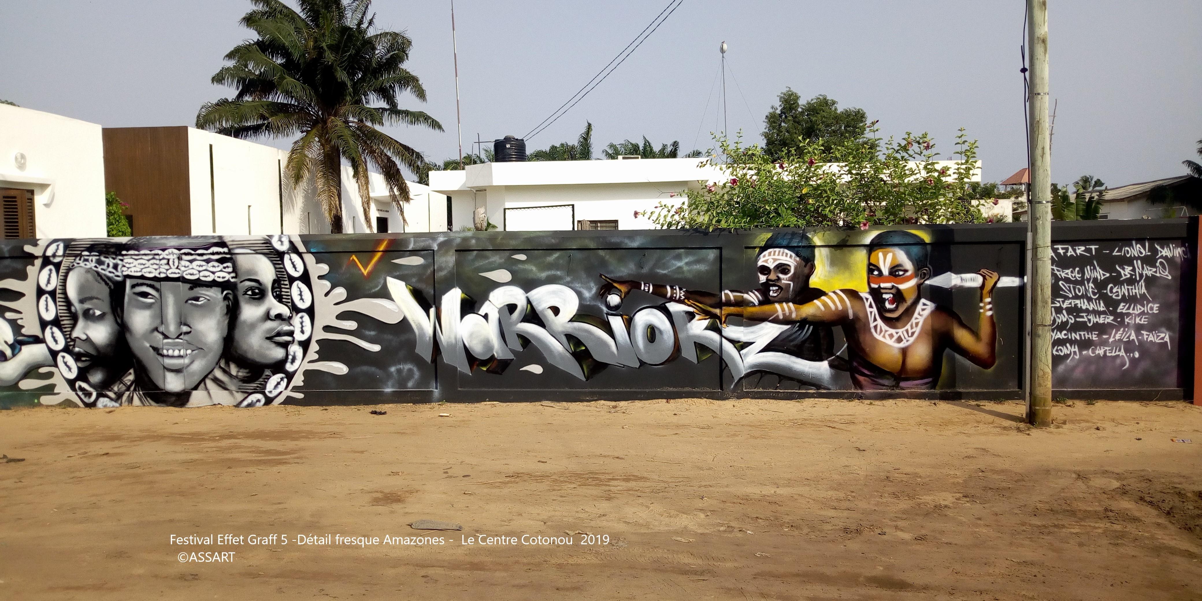 Festival Effet Graff 5 -Détail fresque Amazones - Le Centre Cotonou 2019 - ©ASSART