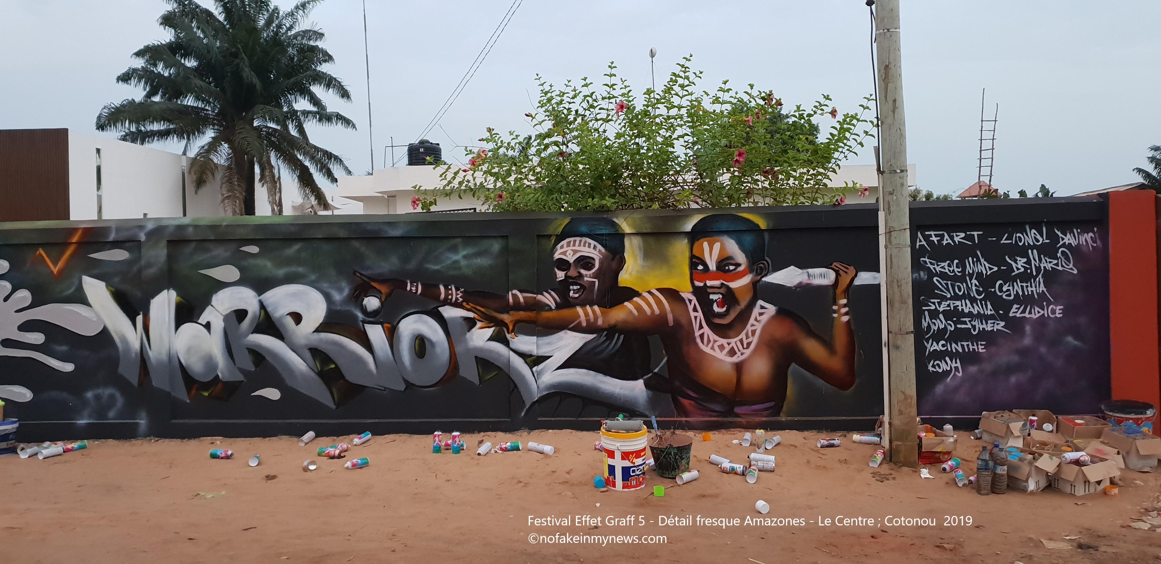 Festival Effet Graff 5 -Détail fresque Amazones - Le Centre Cotonou 2019 - ©nofakeinmynews