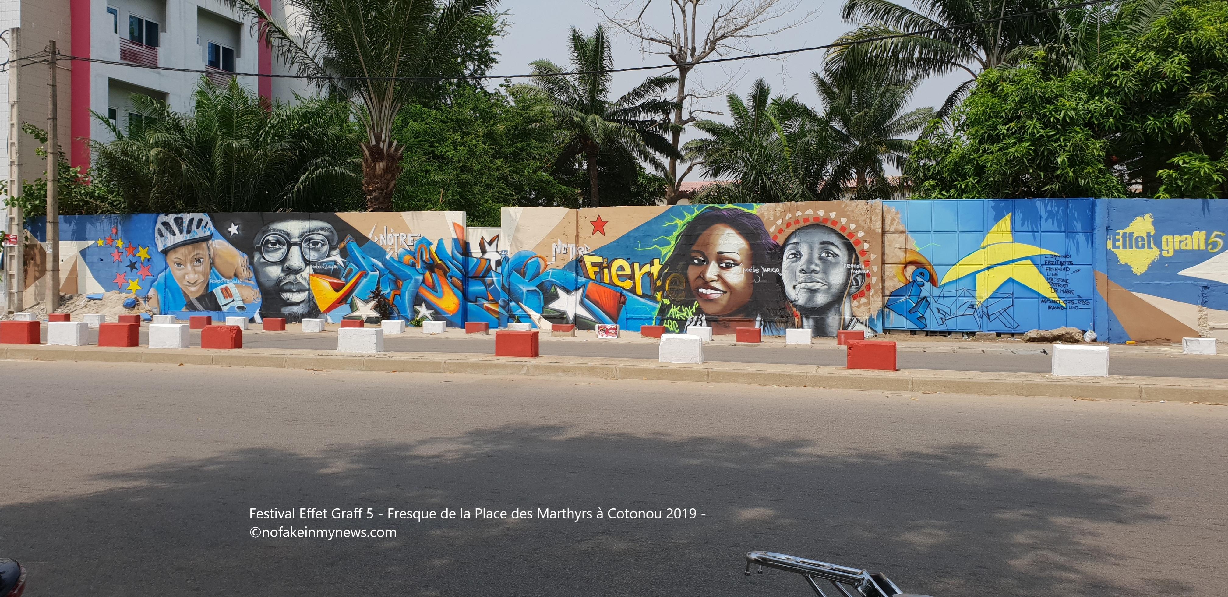 Festival Effet Graff 5 - Fresque de la Place des Marthyrs à Cotonou 2019 - ©nofakeinmynews