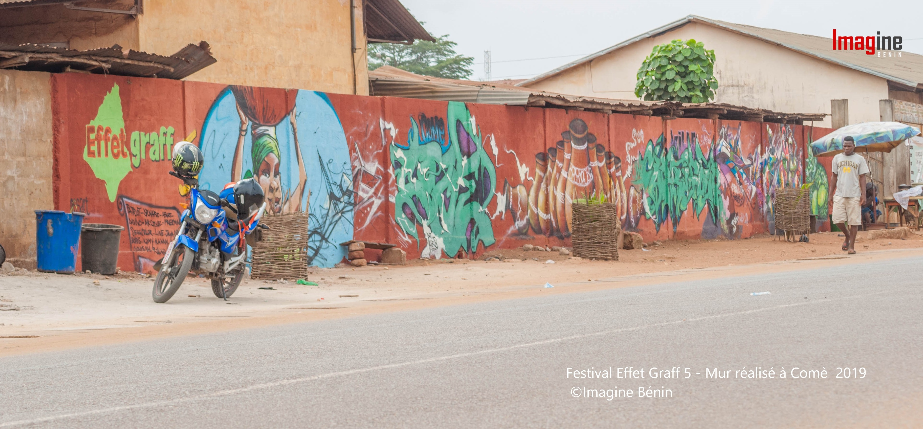 Festival Effet Graff 5 - Mur réalisé à Comè - 2019 - ©Imagine Bénin