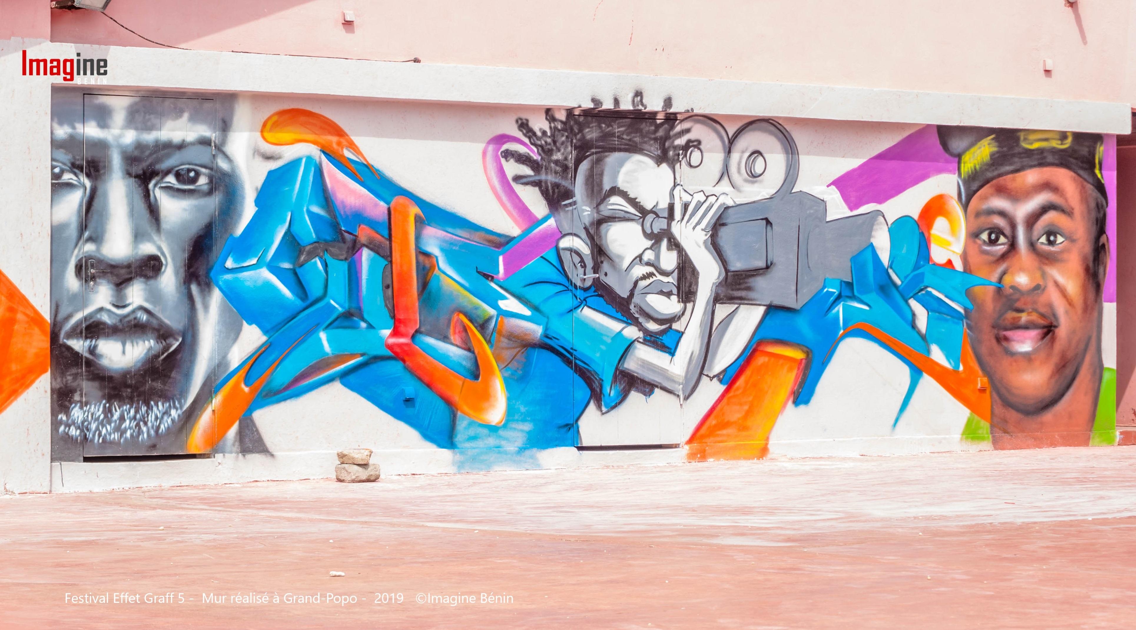 Festival Effet Graff 5 - Mur réalisé à Grand-Popo - 2019 ©Imagine Bénin