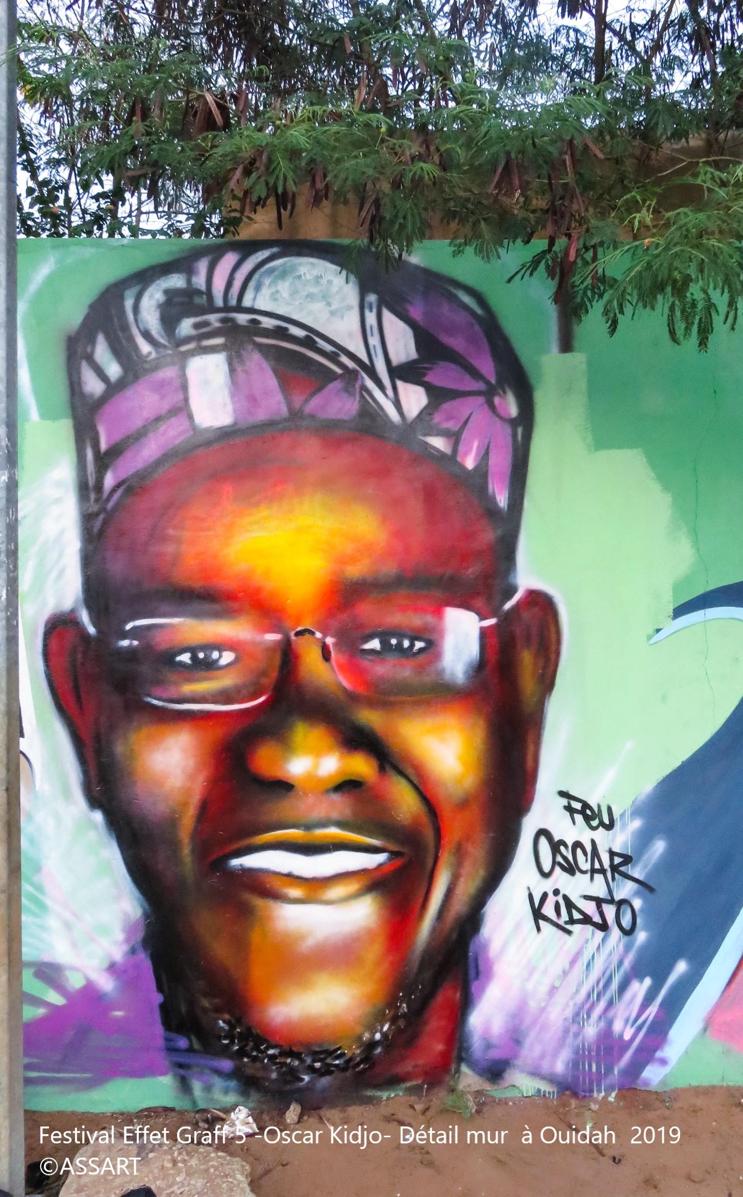 Festival Effet Graff 5 -Oscar Kidjo- Détail mur à Ouidah 2019
