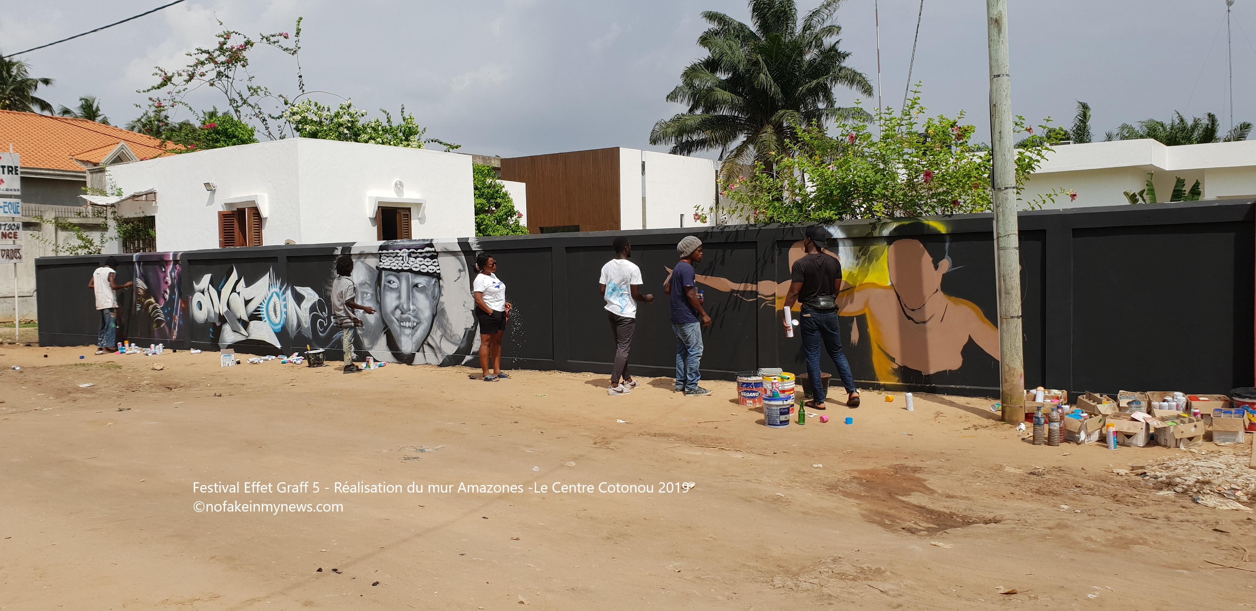 Festival Effet Graff 5 - Réalisation de la fresque Amazones - Le Centre Cotonou 2019 - ©nofakeinmynews