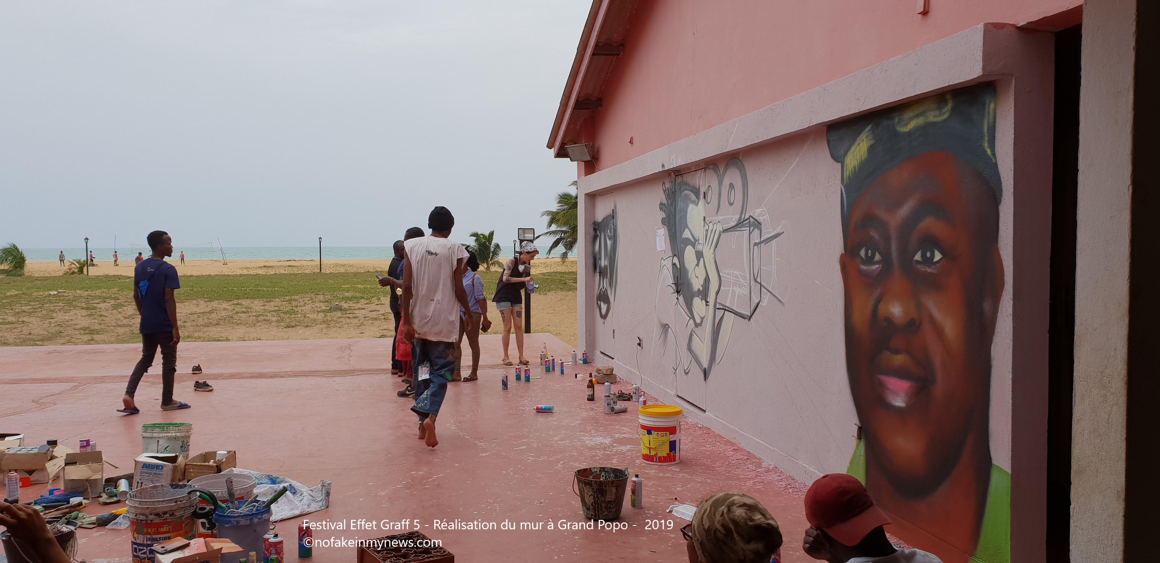 Festival Effet Graff 5 - Réalisation du mur à Grand Popo - 2019 - ©nofakeinmynews