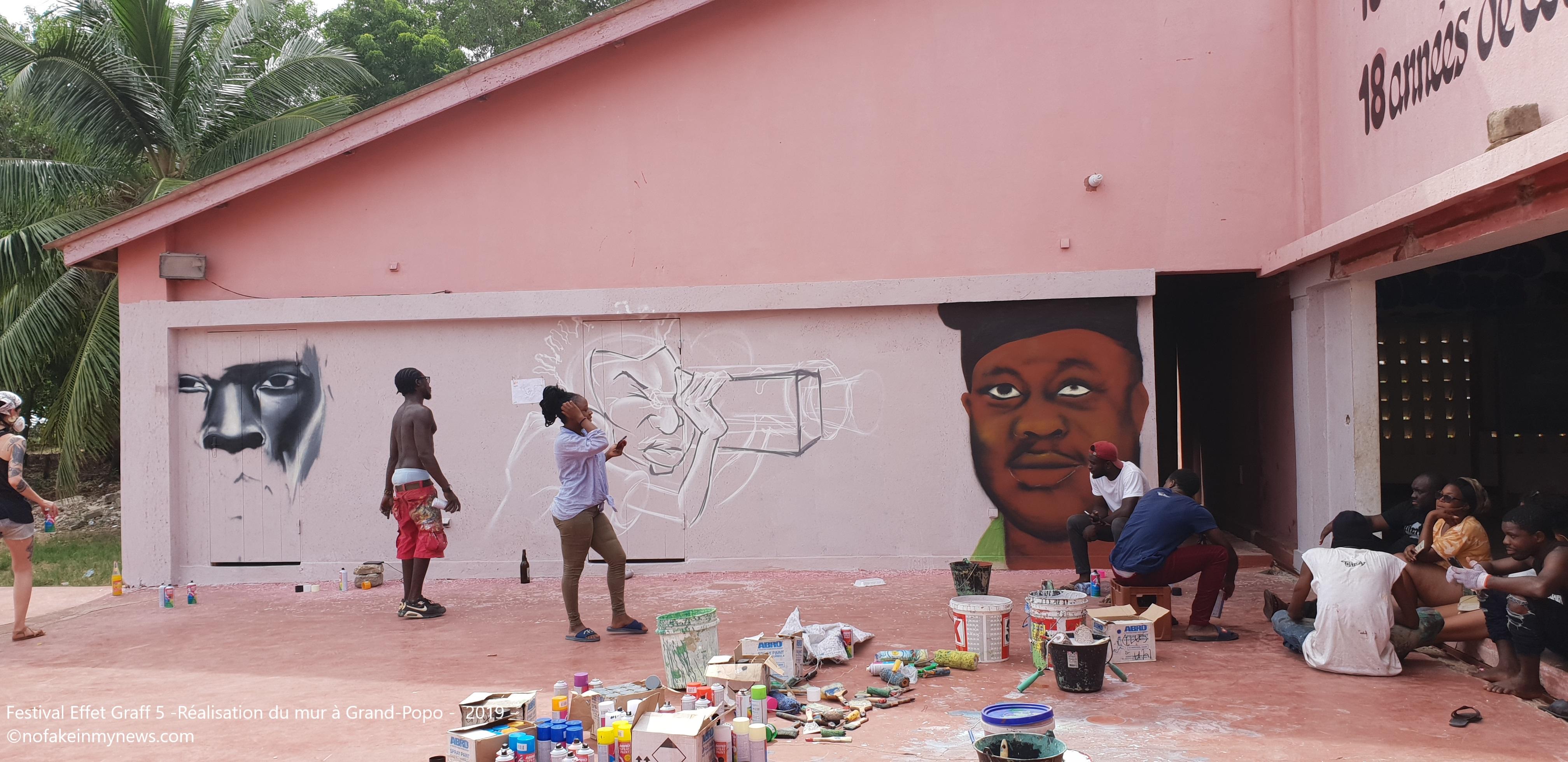 Festival Effet Graff 5 -Réalisation du mur à Grand-Popo - 2019 - ©nofakeinmynews