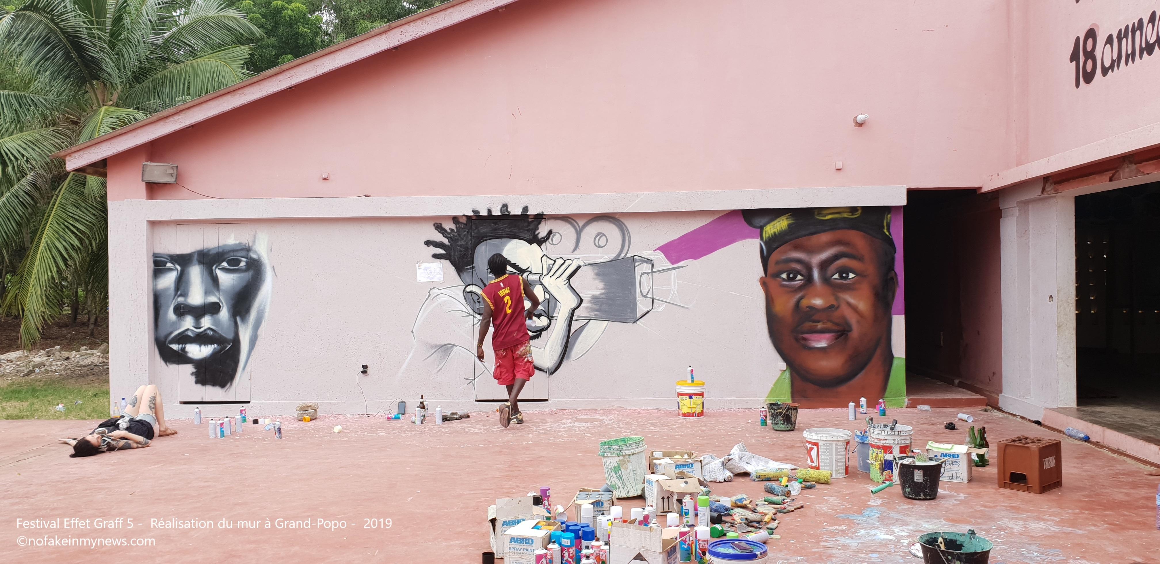 Festival Effet Graff 5 - Réalisation du mur à Grand-Popo - 2019 ©nofakeinmynews
