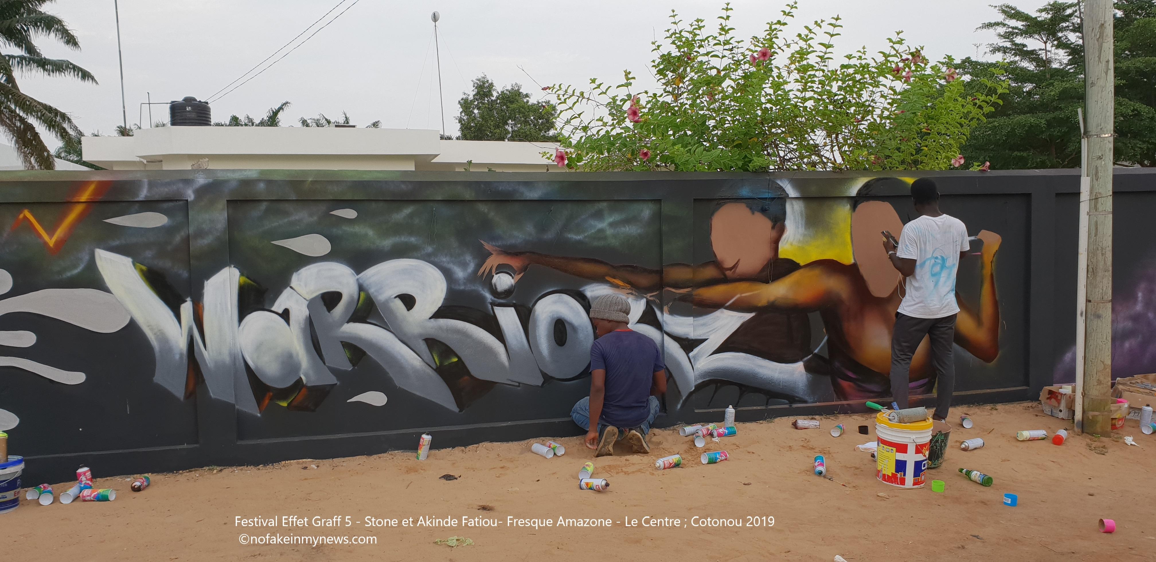 Festival Effet Graff 5 - Stone et Akinde Fatiou- Fresque Amazone - Le Centre ; Cotonou 2019 ©nofakeinmynews