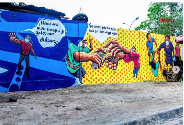 Détail Fresque réalisée par ASSART au Bénin Image issue du compte Instagram @mr__stone