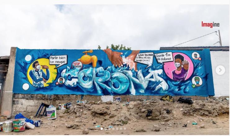 Détail Fresque2 réalisée par ASSART au Bénin Image issue du compte Instagram @mr__stone