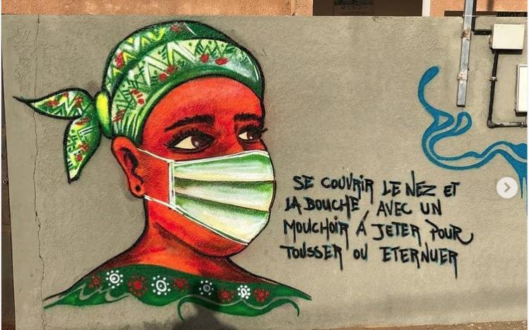 Détal Fresque réalisée par DAIINZO RBS du collectif RBS CREW au Sénégal - Image issue du compte Instagram @rbscrew_sn