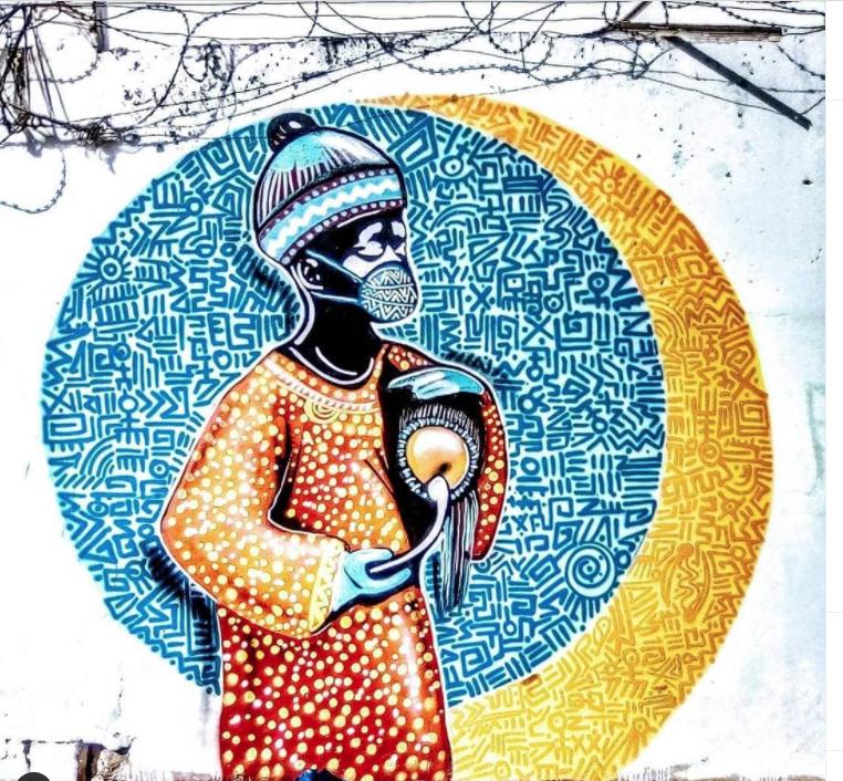 Fresque réalisée par Diablos rbs du collectif RBS CREW au Sénégal - Image issue du compte Instagram @rbscrew_sn