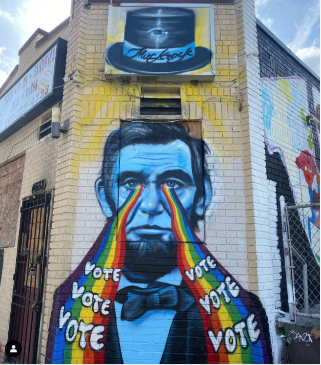 Fresque réalisée par Muck Rock à Washingtn . Image issue du compet Instagram @muckrock