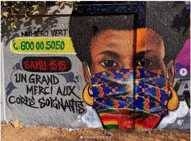 Fresque réalisée par des membre du collectif RBS CREW au Sénégal - Image issue du compte Instagram @rbscrew_sn