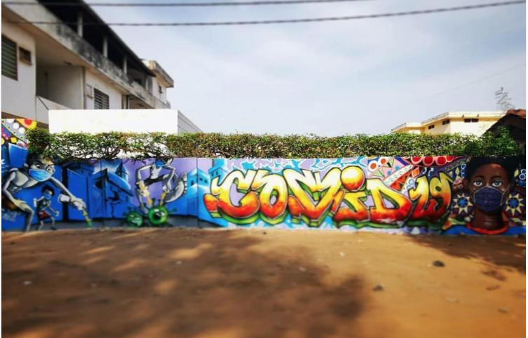 Fresque réalisée par le collectif Logone Graff Crew au Togo . Image issue du compte Instagram @logonegraffcrew
