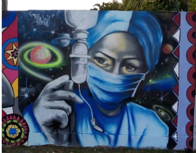 Fresque réalisée par le collectif Logone Graff Crew au Togo . Image2 issue du compte Instagram @logonegraffcrew