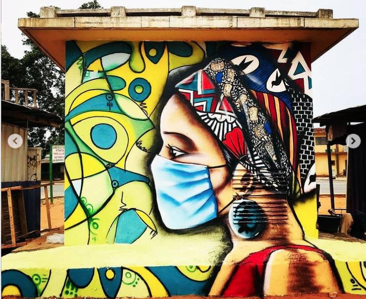 Fresque réalisée par le collectif Logone Graff Crew au Togo - Image issue du compte Instagram @trezfolly