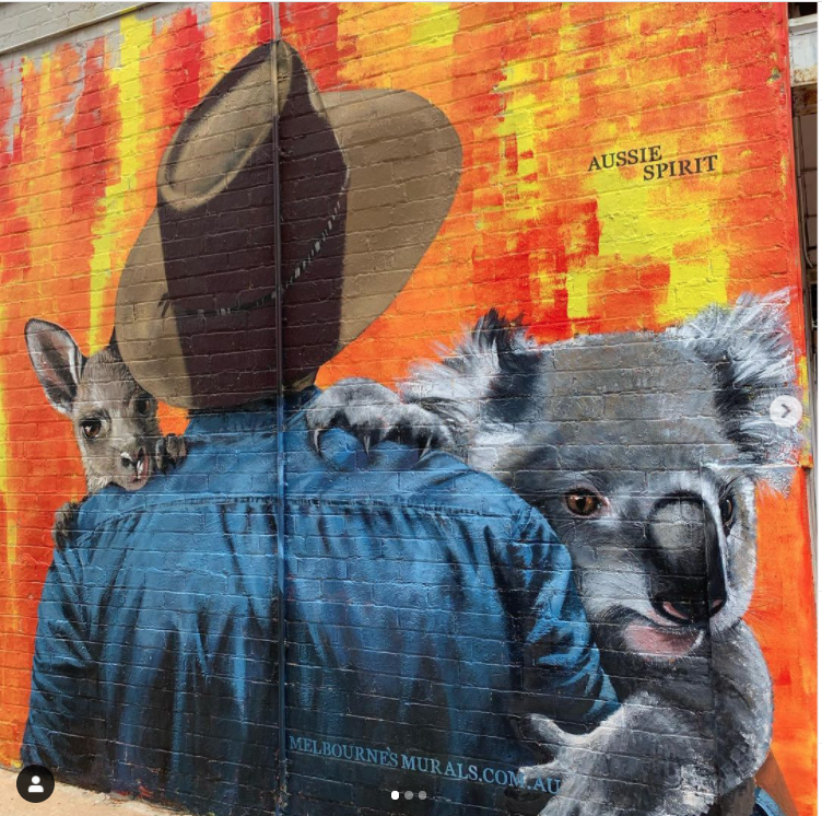 Mur réalisé par Melbournes Murals - Image issue du compte Instagram @melbournesmurals