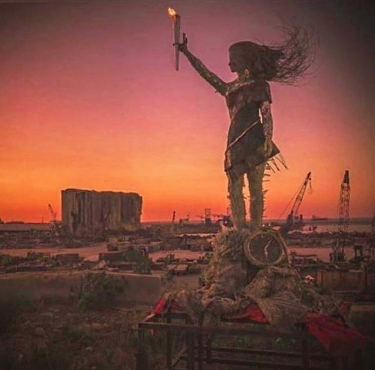 Oeuvre réalisée par l'artiste Hayat Nazer à Beyrouth - Image issue du compte Instagram @hayat_nazer_v